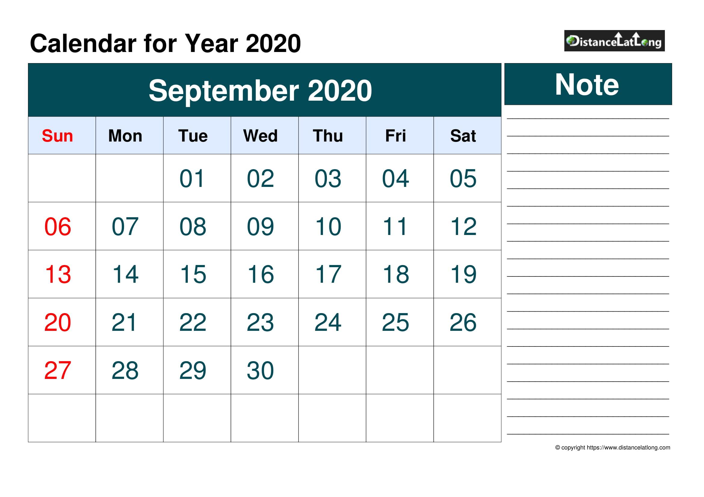 Blank Calendar Template September 2020
