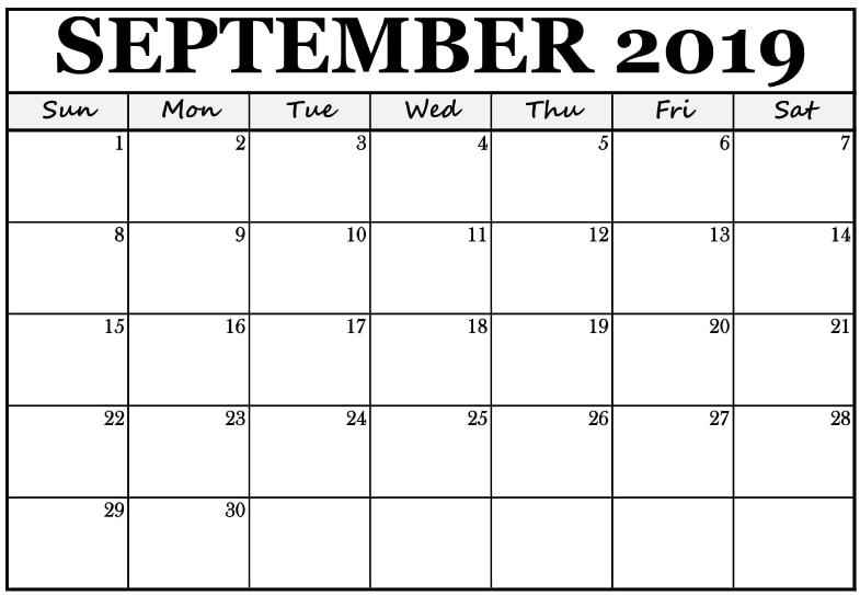 Calendar For September 2019