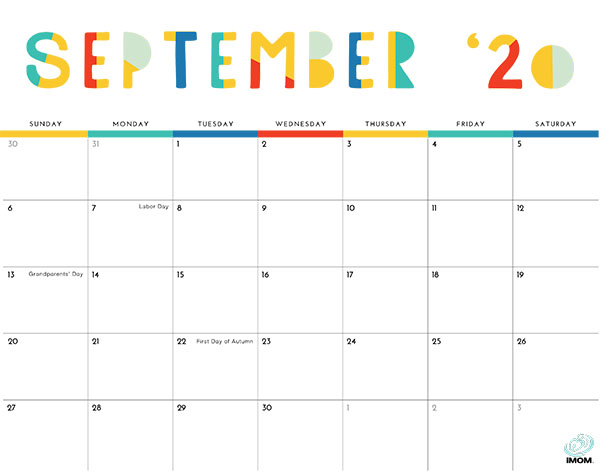 Colorful September 2020 Monthly Calendar