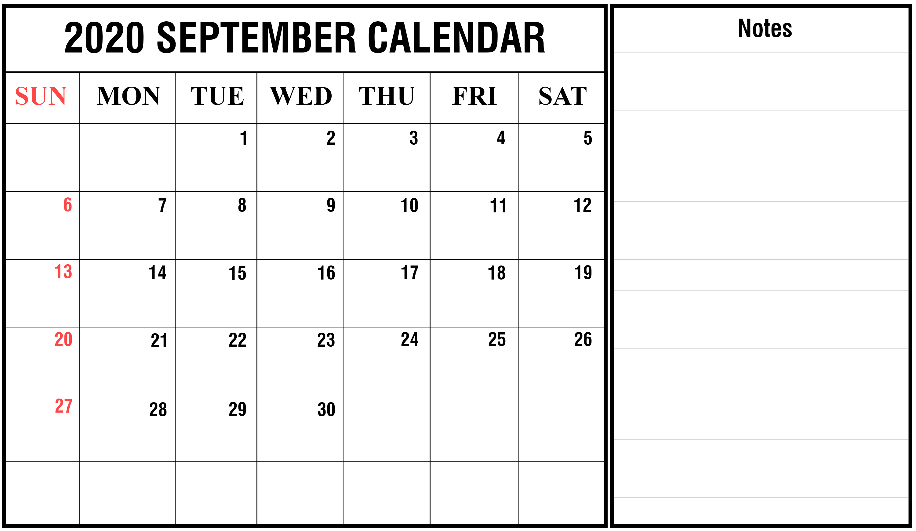 Editable September 2020 Calendar with Notes