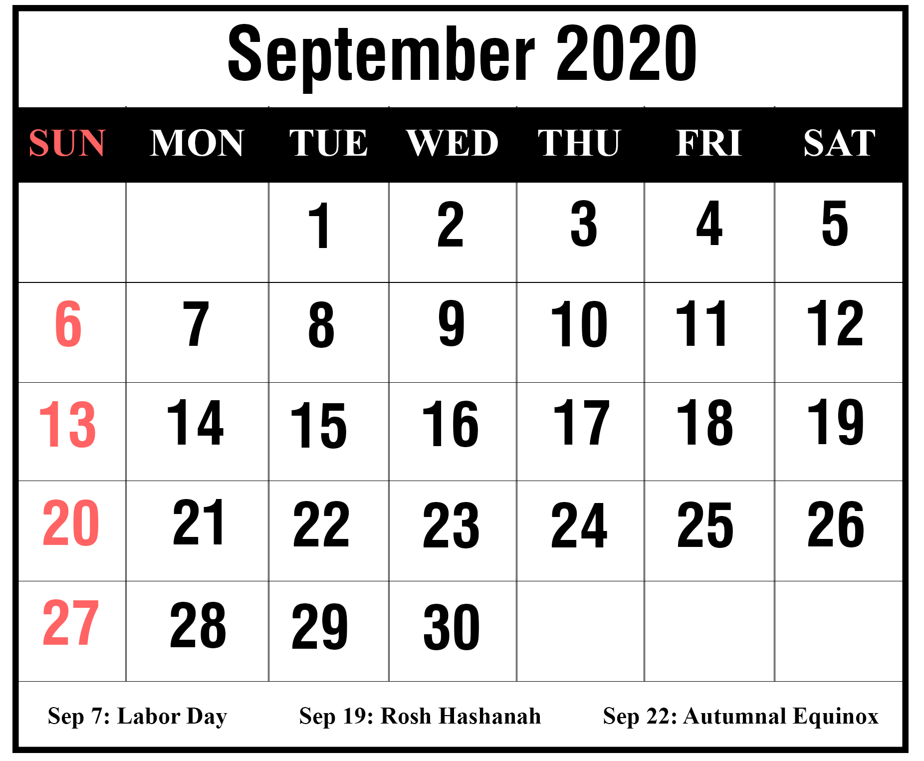 Holidays Calendar September 2020