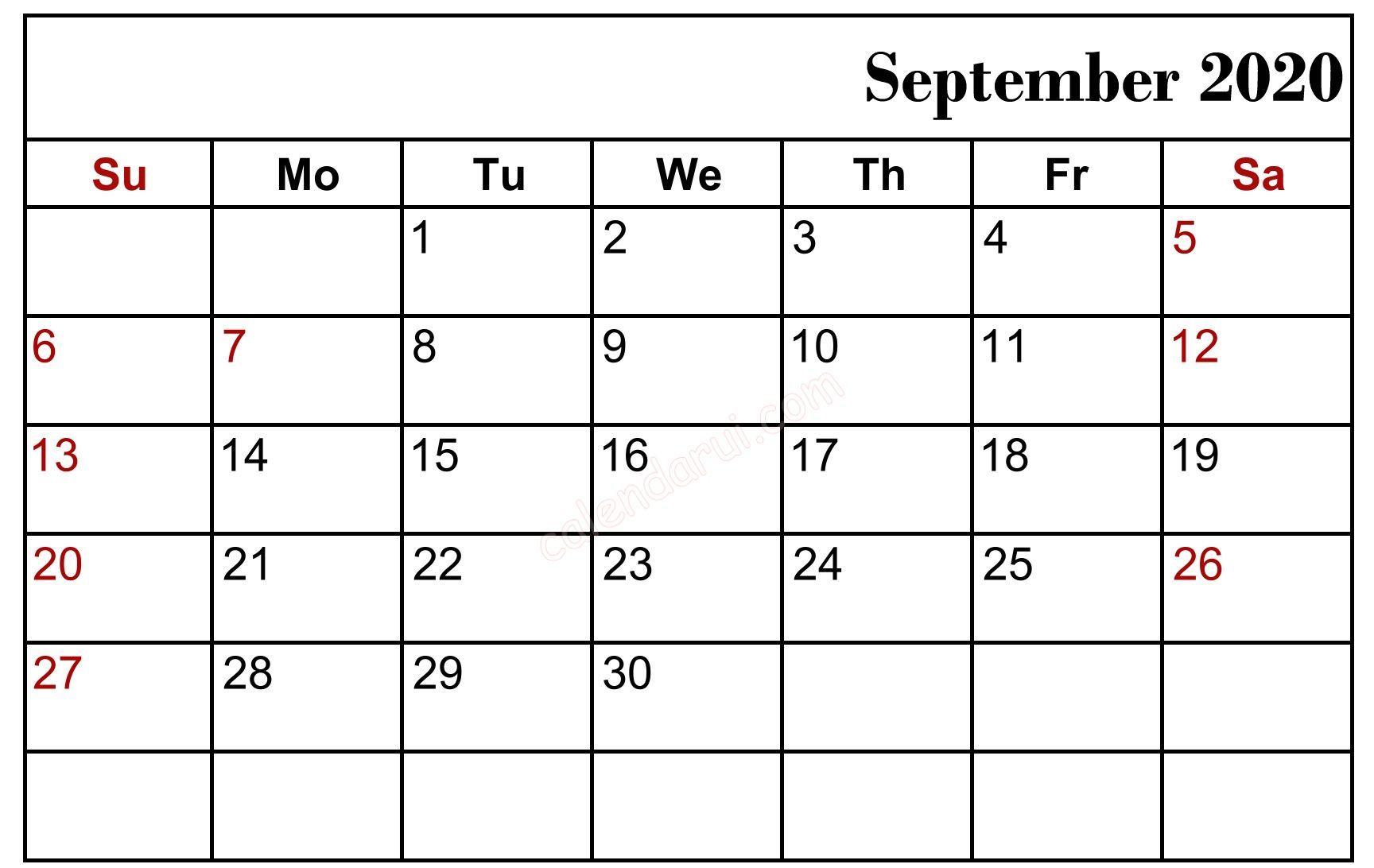September 2020 Blank Calendar
