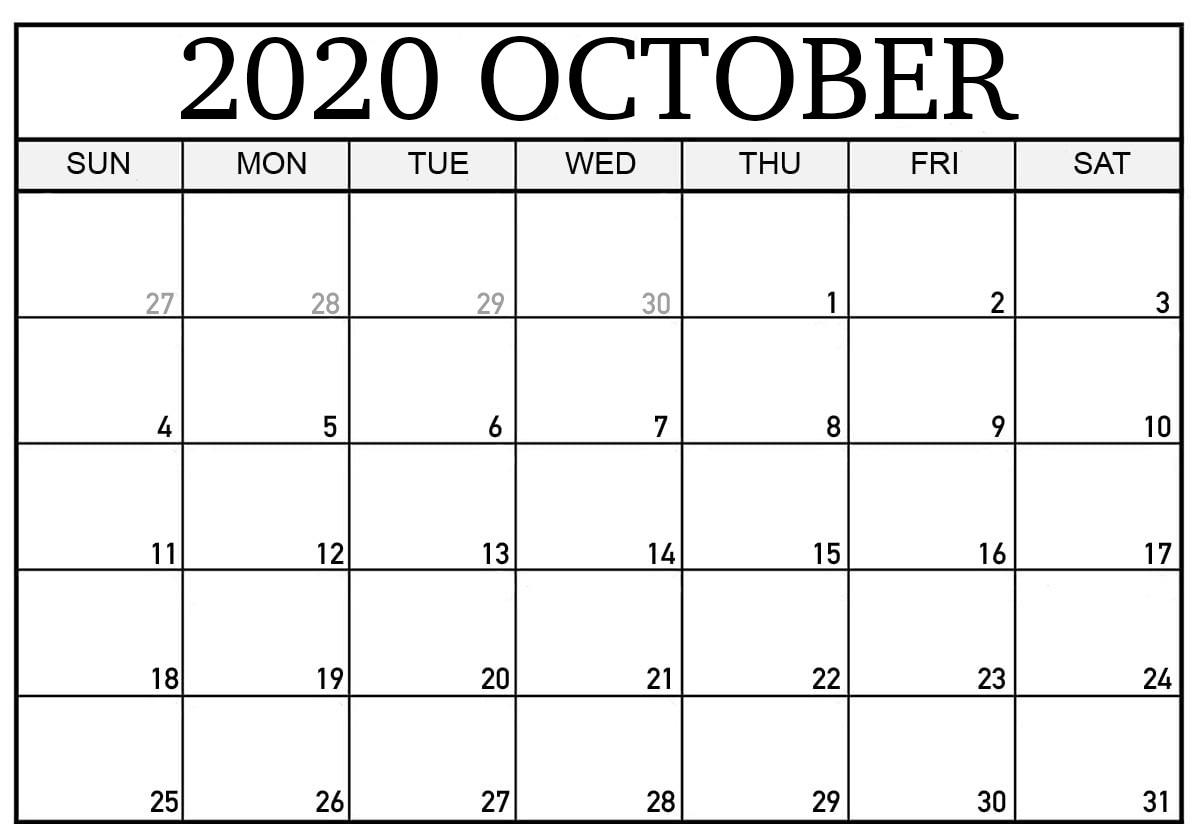2020 October Calendar