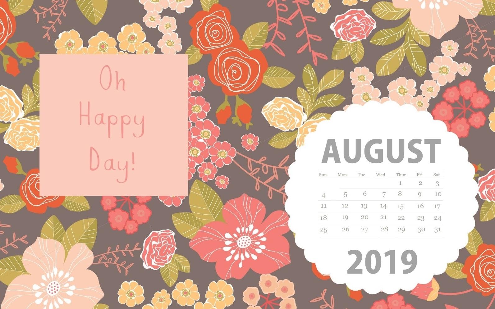 August 2019 Floral Desktop Calendar Wallpaper