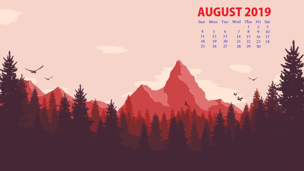 August 2019 HD Desktop Calendar Wallpaper