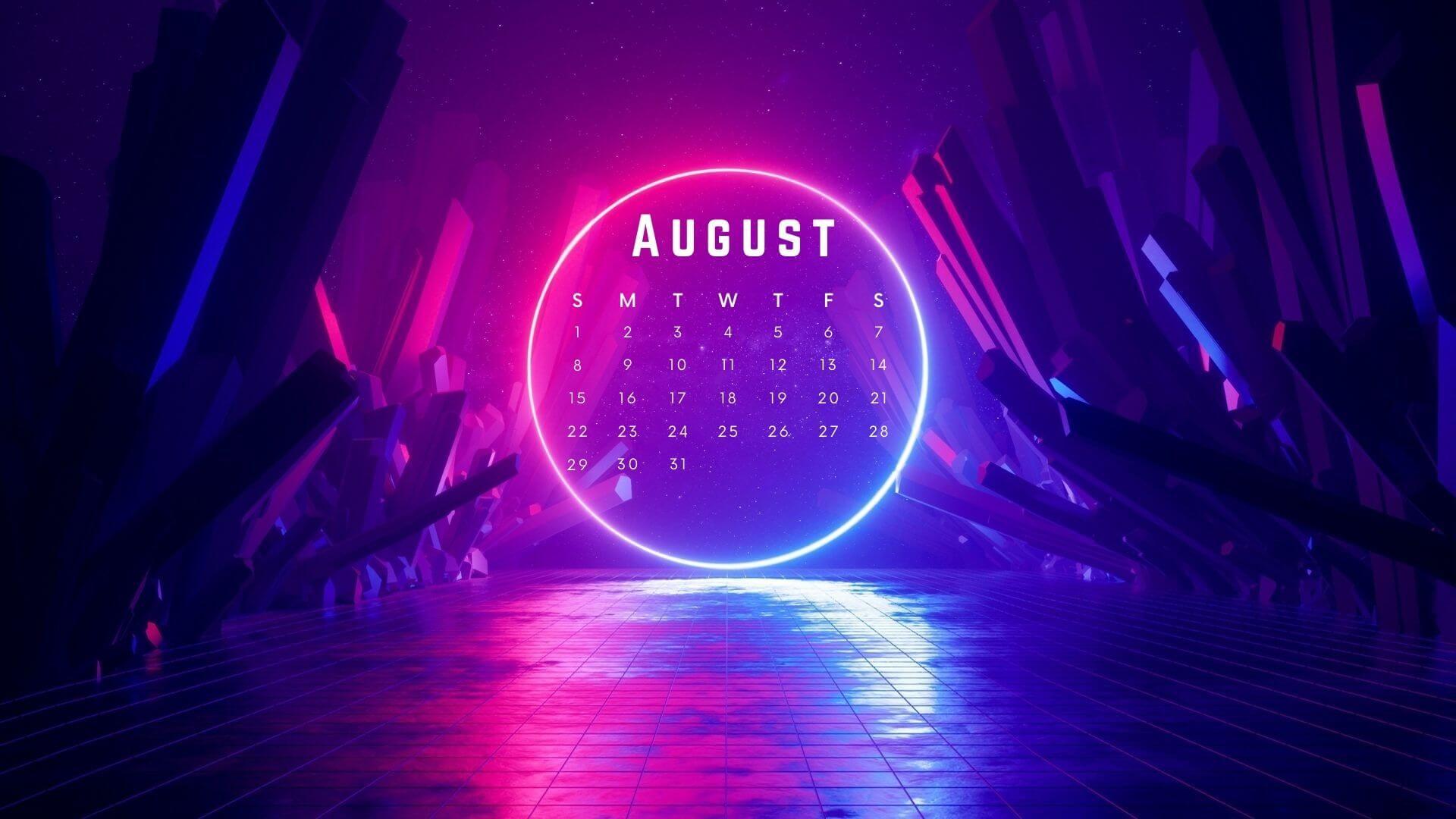 August 2021 Desktop Screensaver Calendar