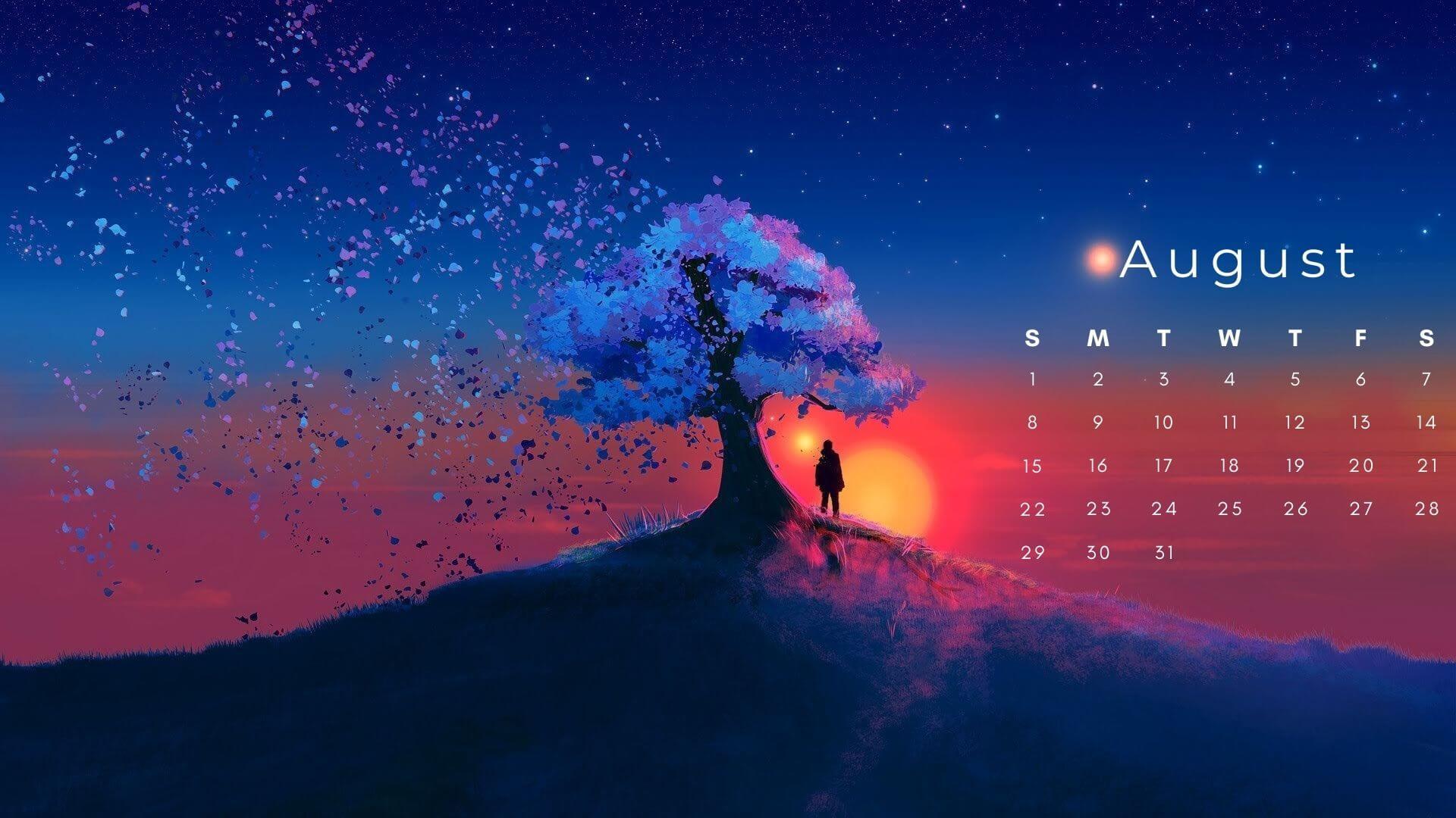 August 2021 HD Calendar Wallpaper