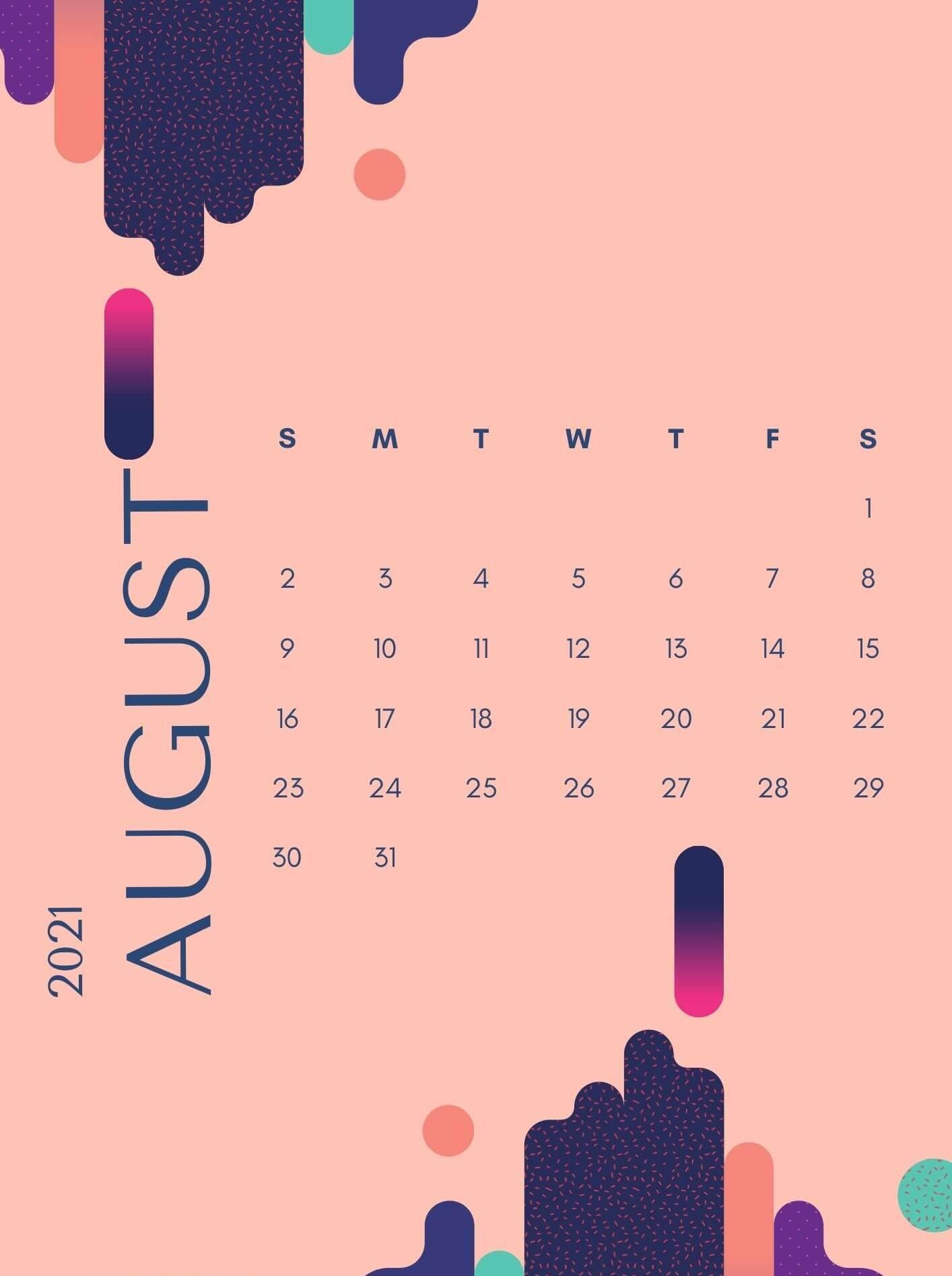 August 2021 iPhone Calendar Wallpaper