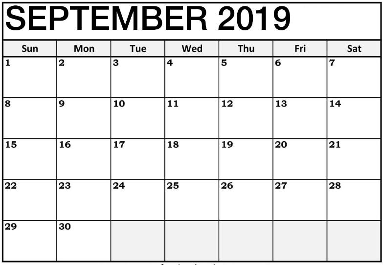 Blank Printable September 2019 Calendar
