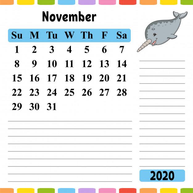 Calendar For November 2020 for Kids