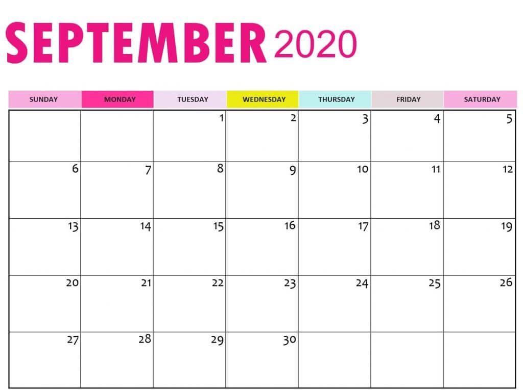 Colored free Printable September 2020 Calendar