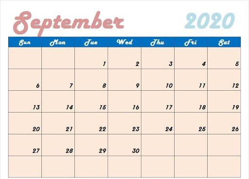 Colorful September 2020 Calendar