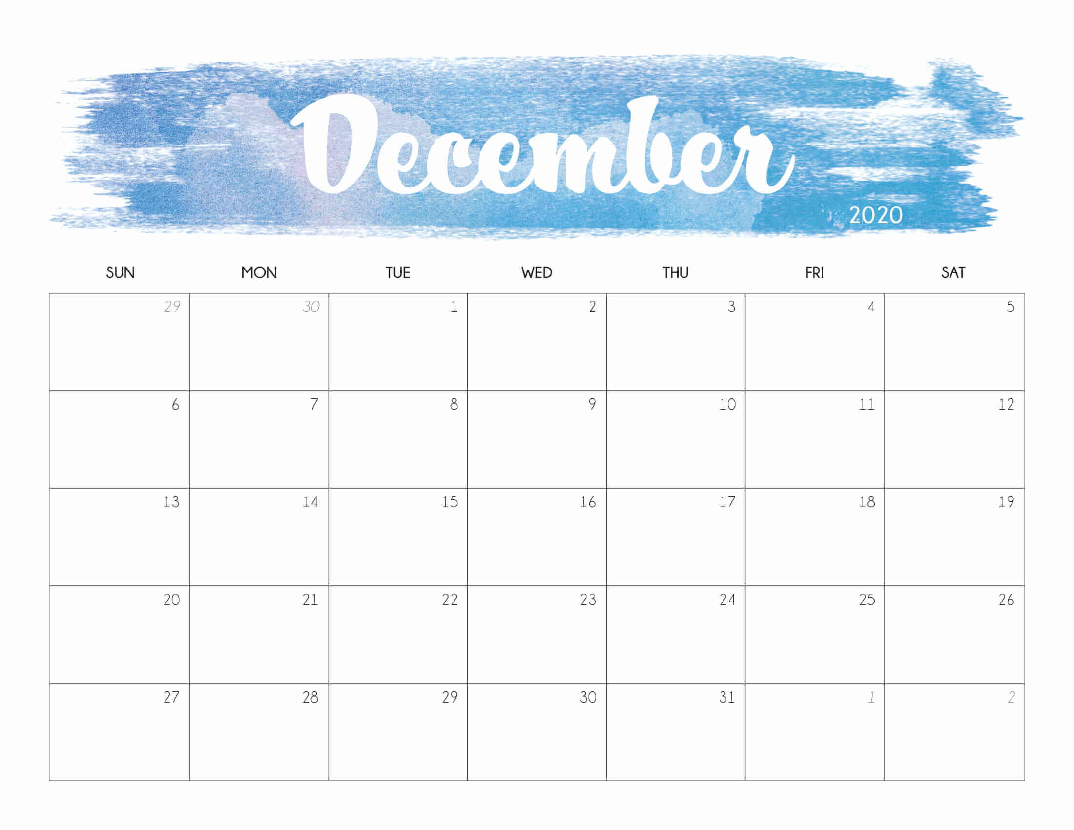 Cute December 2020 Desk Calendar
