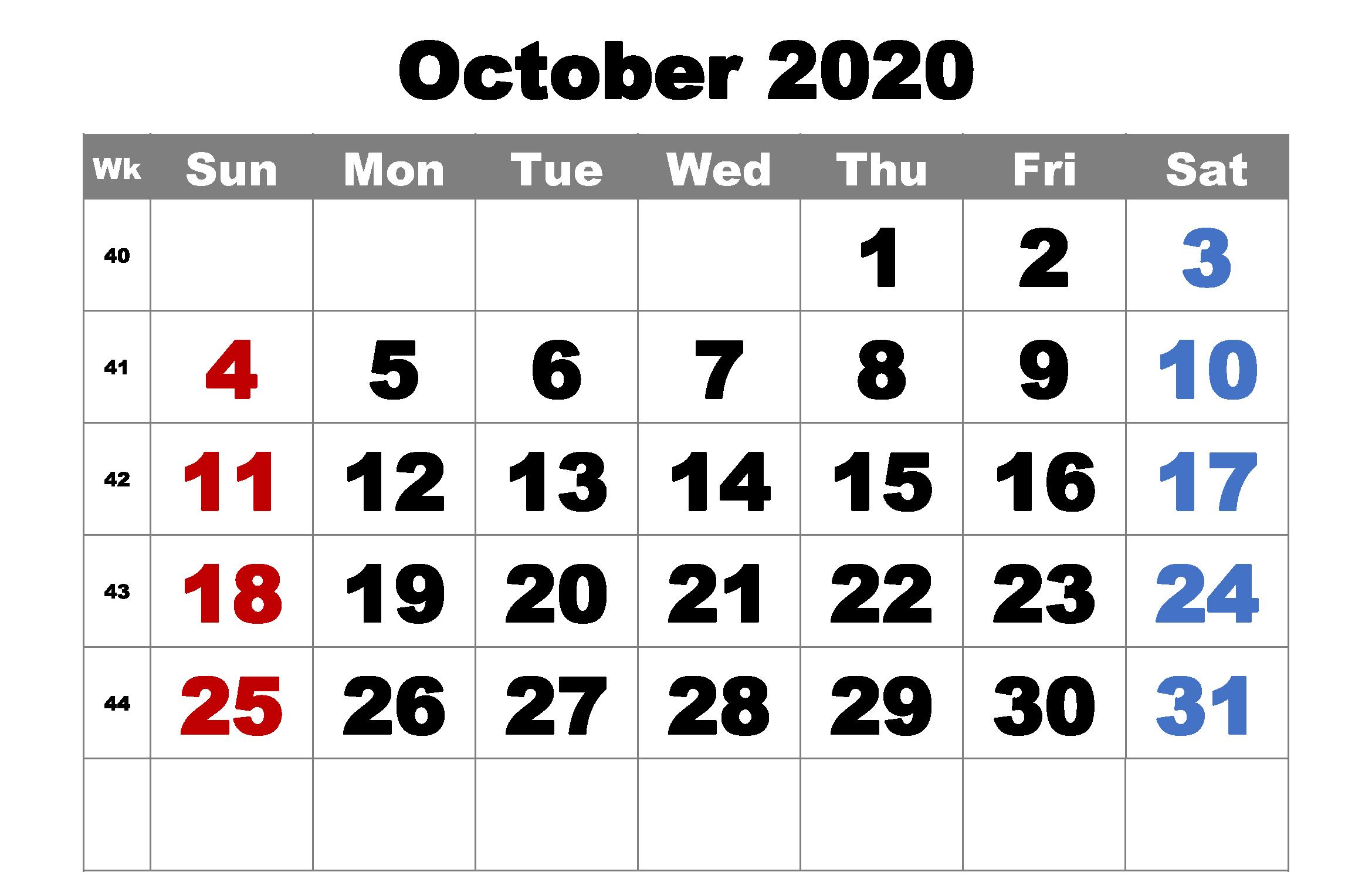 Cute October 2020 Calendar
