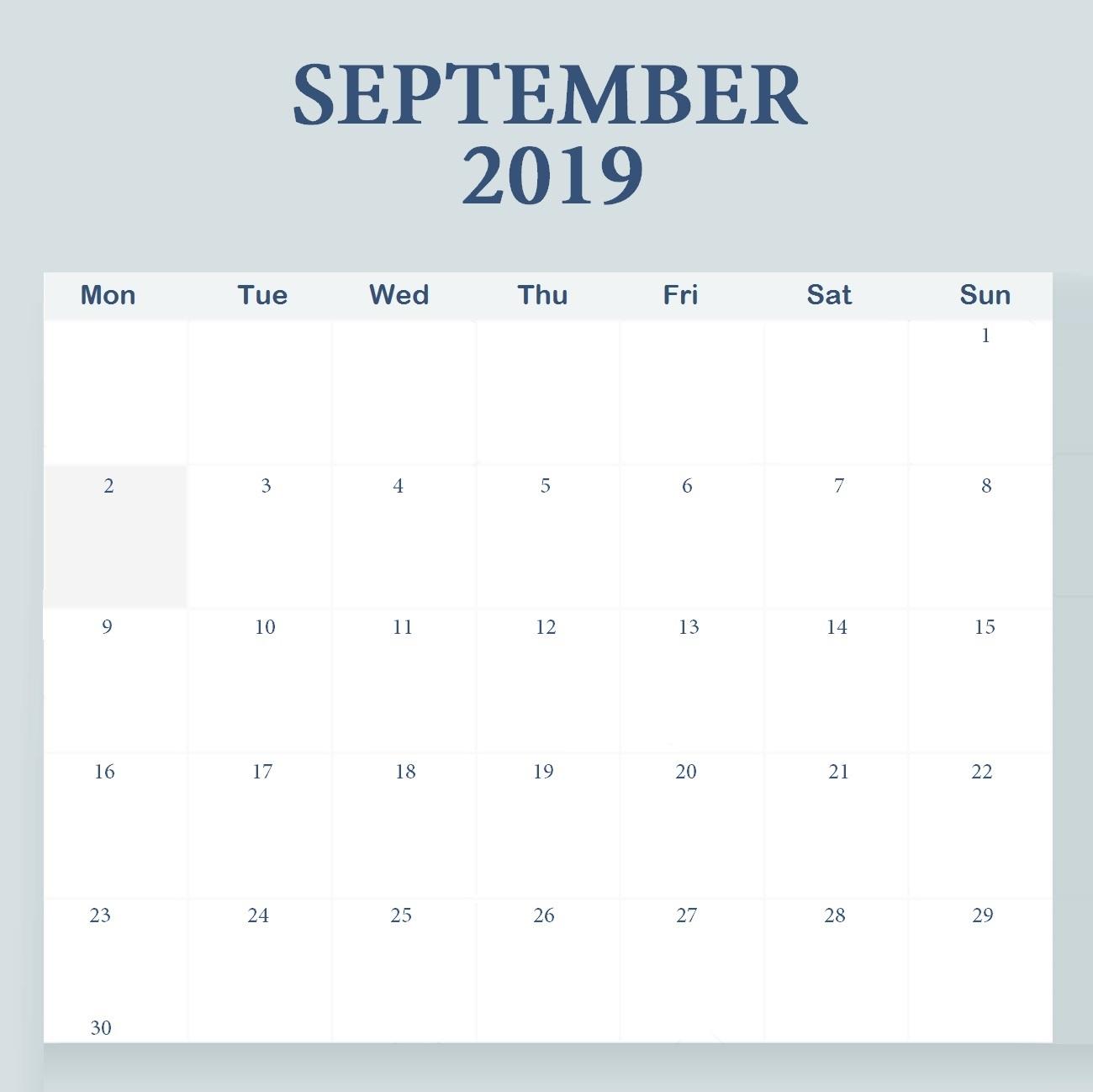 Cute Printable September 2019 Calendar