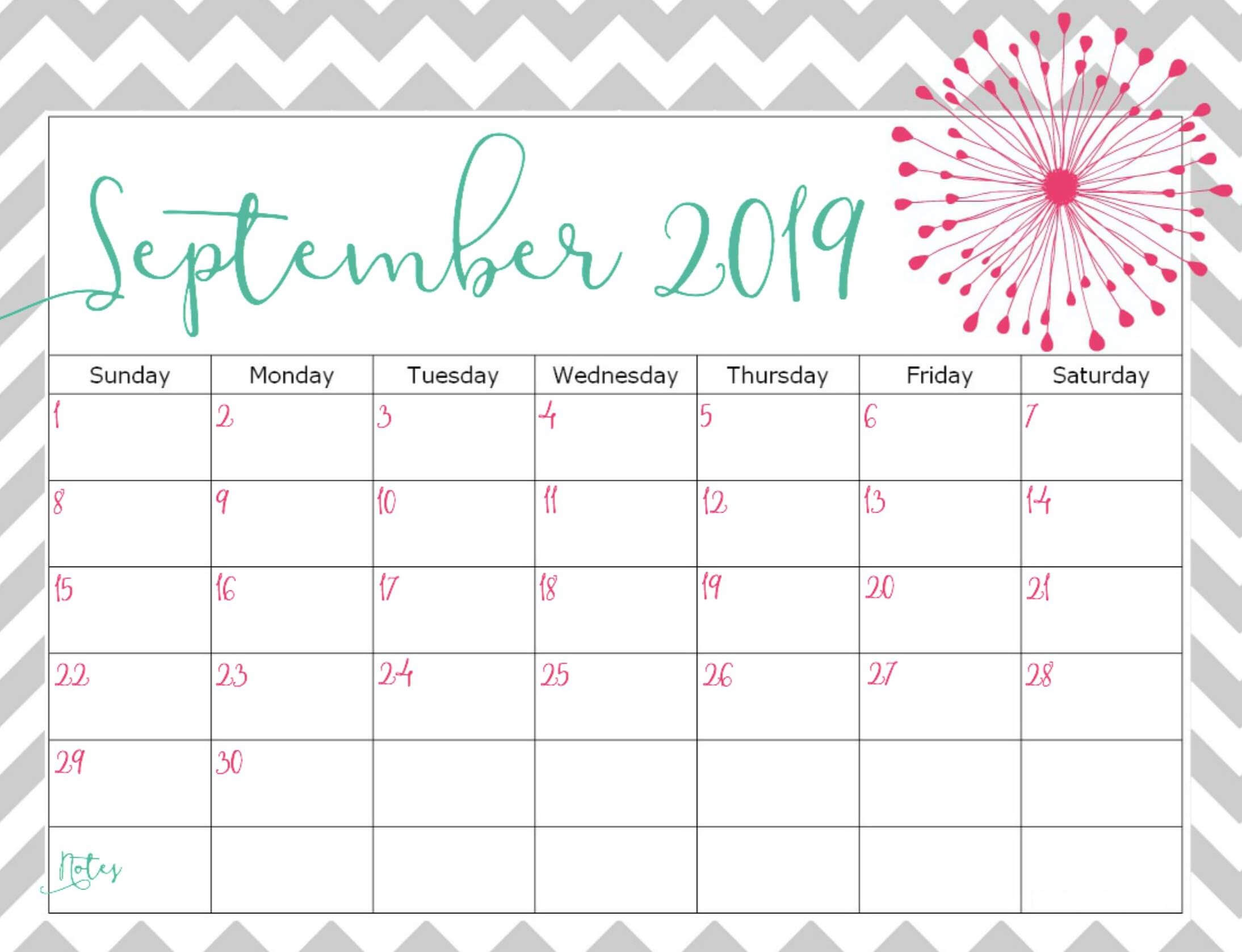 picture regarding Printable September Calendar called Floral Lovable September 2019 Calendar Printable Template
