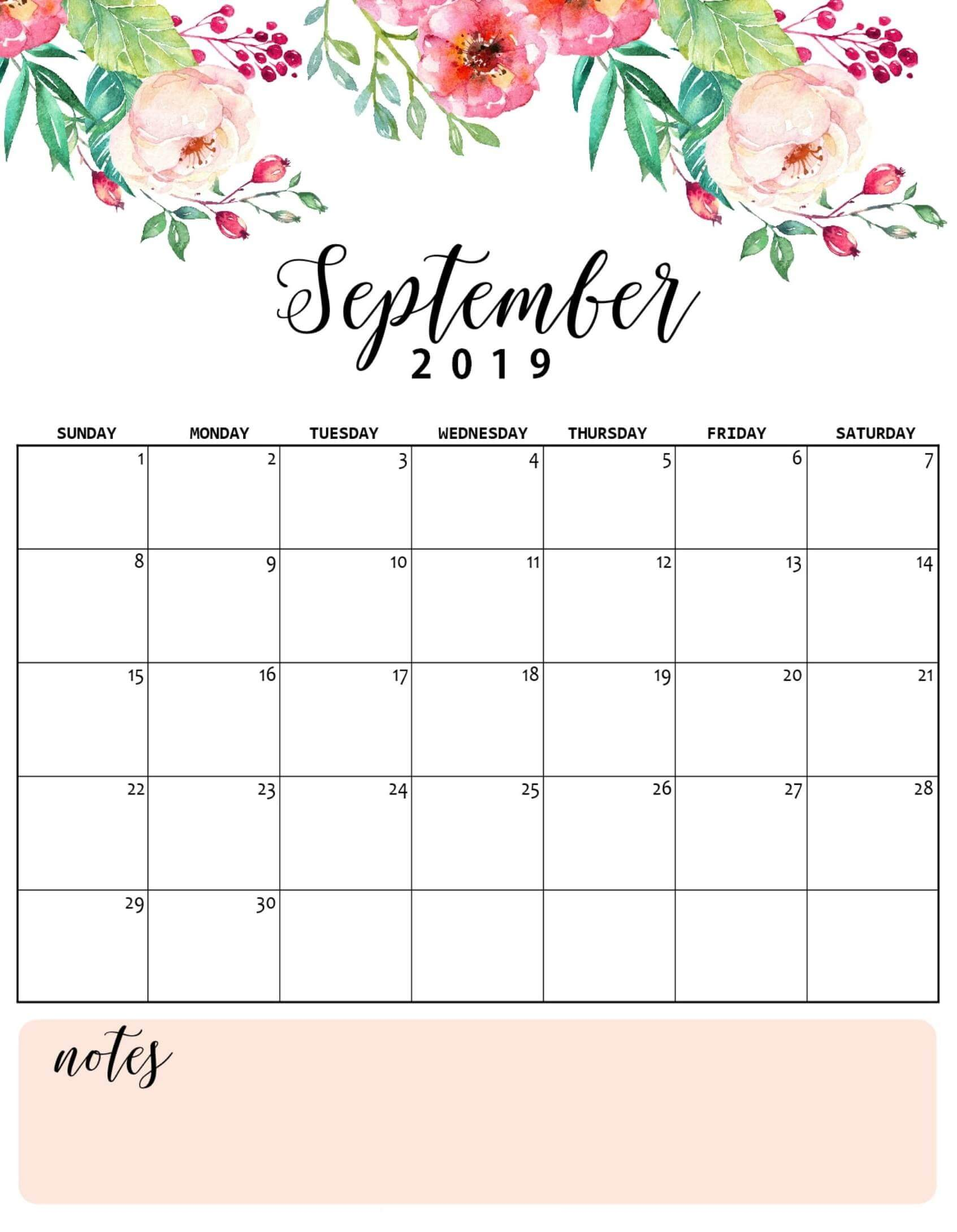 photograph about Cute Calendars titled Floral Adorable September 2019 Calendar Printable Template