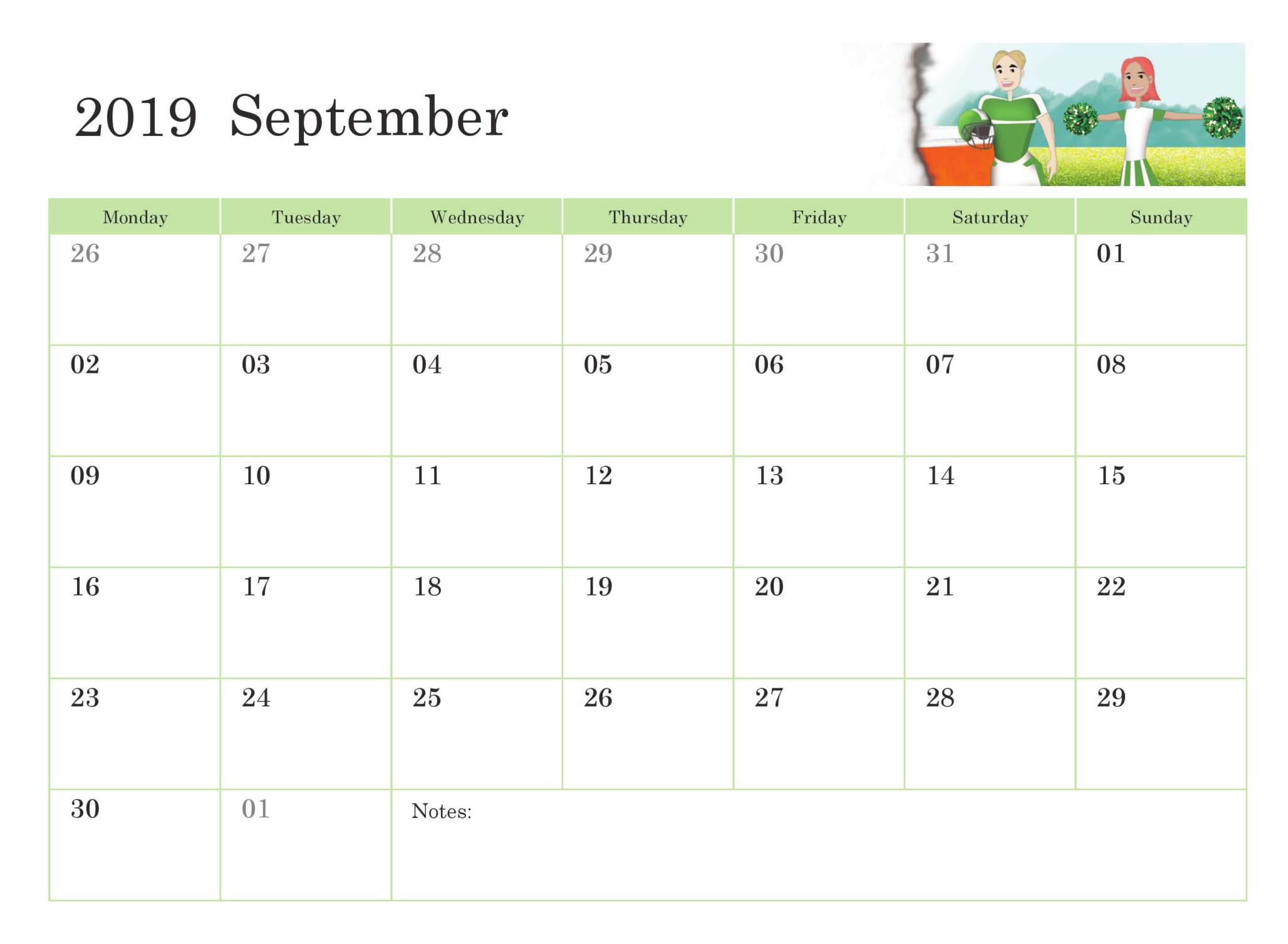 graphic relating to Pretty Calendars called Floral Adorable September 2019 Calendar Printable Template