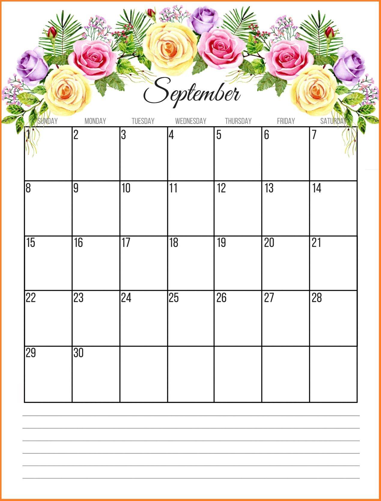 Cute September 2019 Floral Calendar