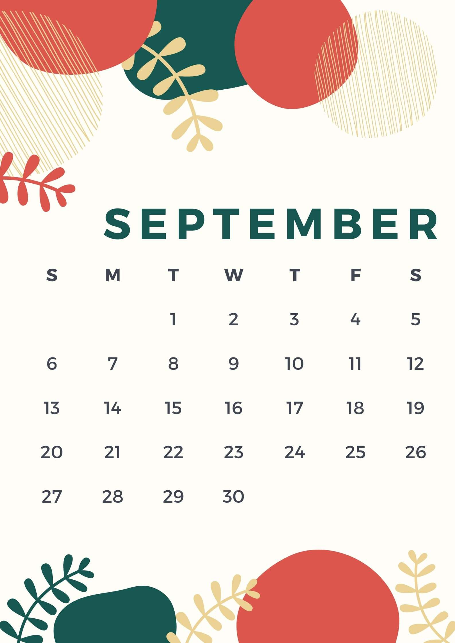 Cute September 2020 Calendar Design
