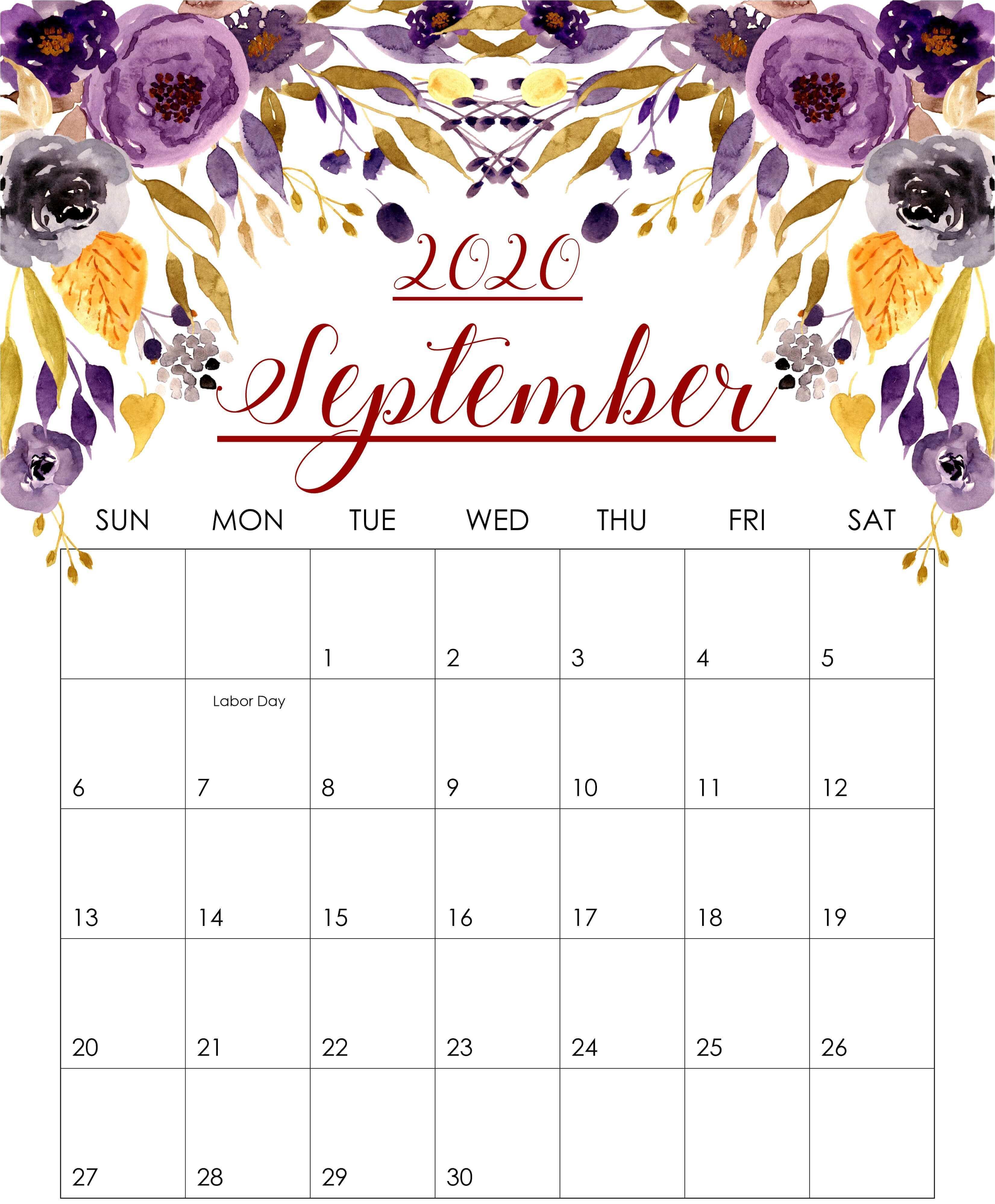 Cute September 2020 Calendar Printable