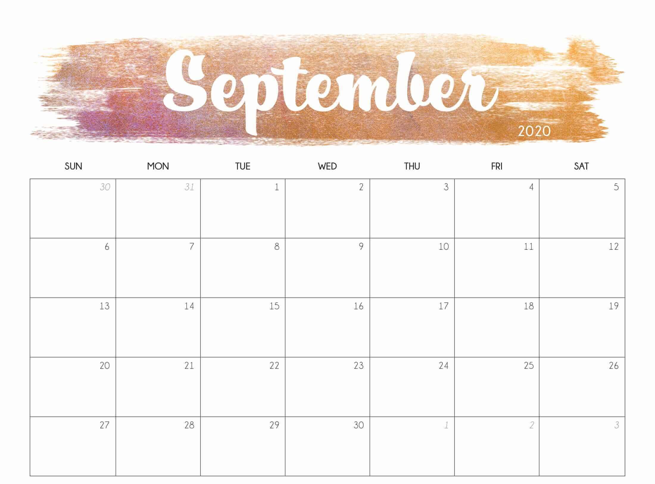 Cute September 2020 Calendar Template
