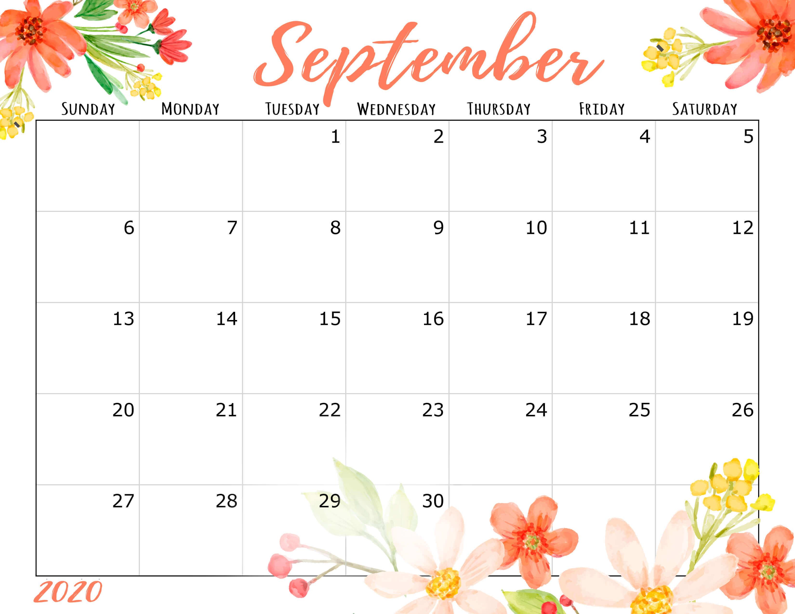 Cute September 2020 Desk Calendar