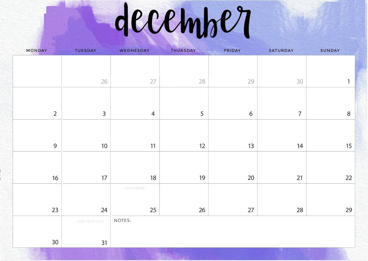 December 2019 Desk Calendar