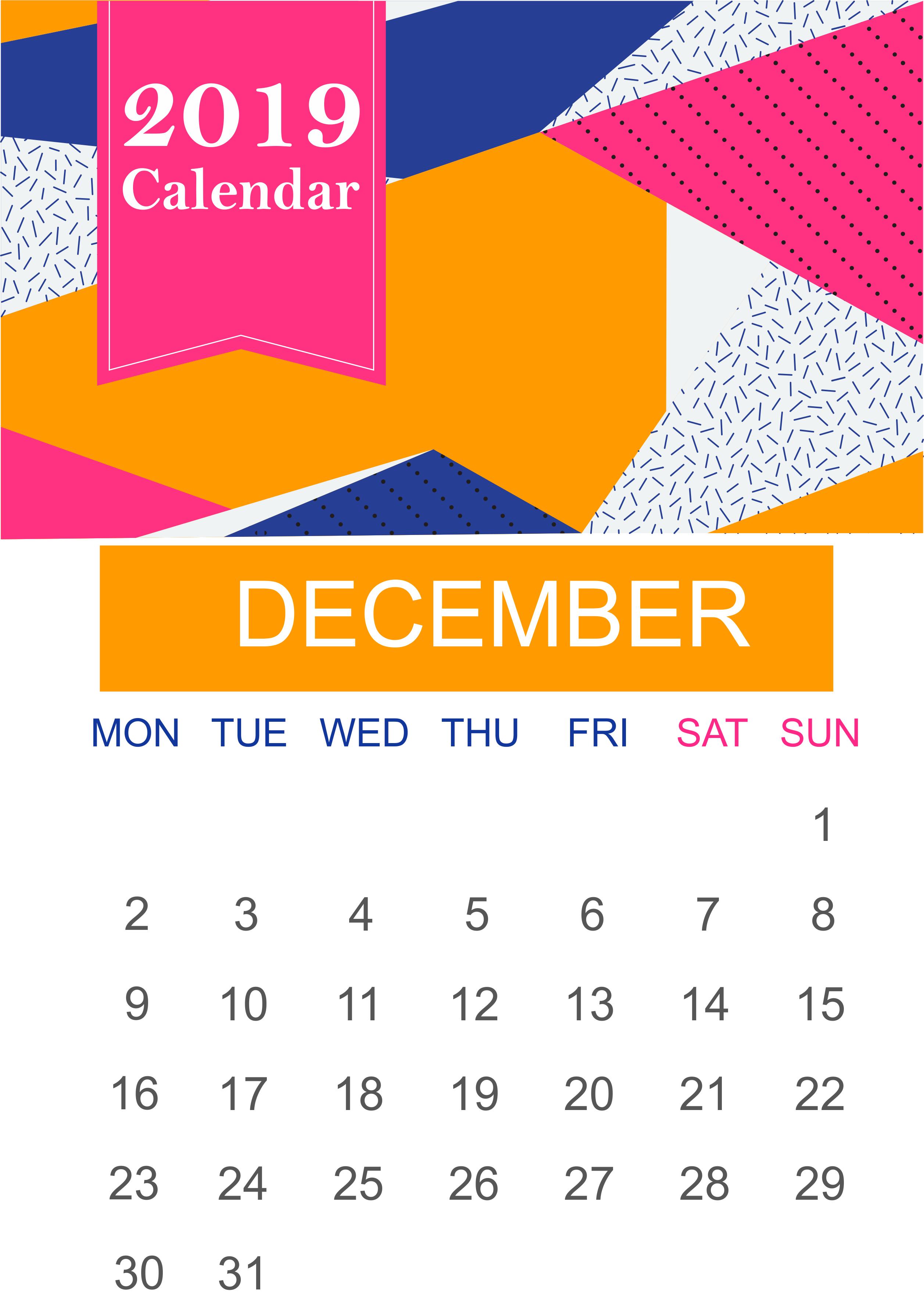 December 2019 Wall Calendar Printable