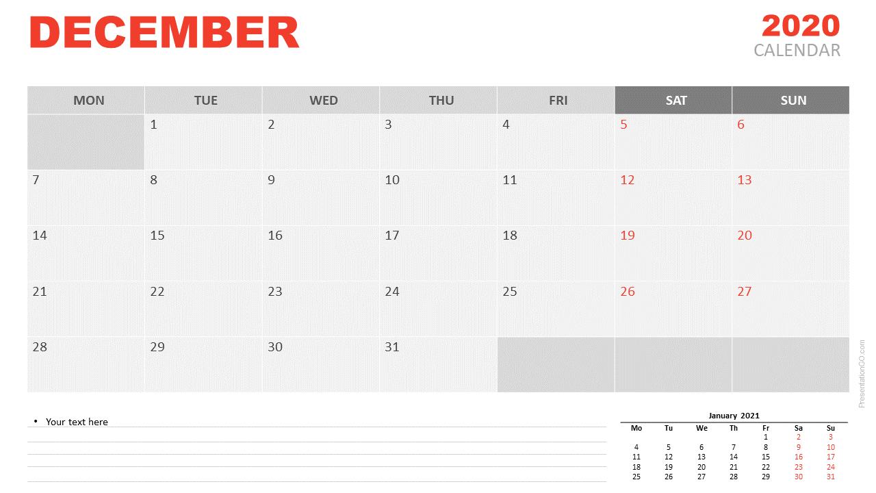 December 2020 Calendar Google Sheet