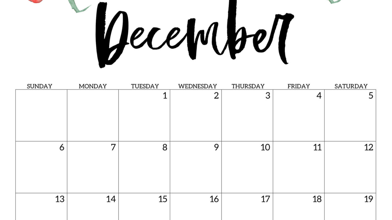Decorative December 2020 Floral Calendar