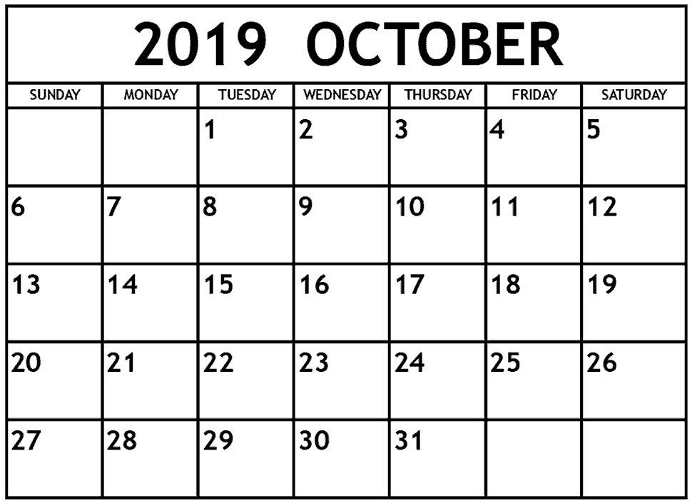 Print October 2019 Calendar Blank Template Pdf Word Excel