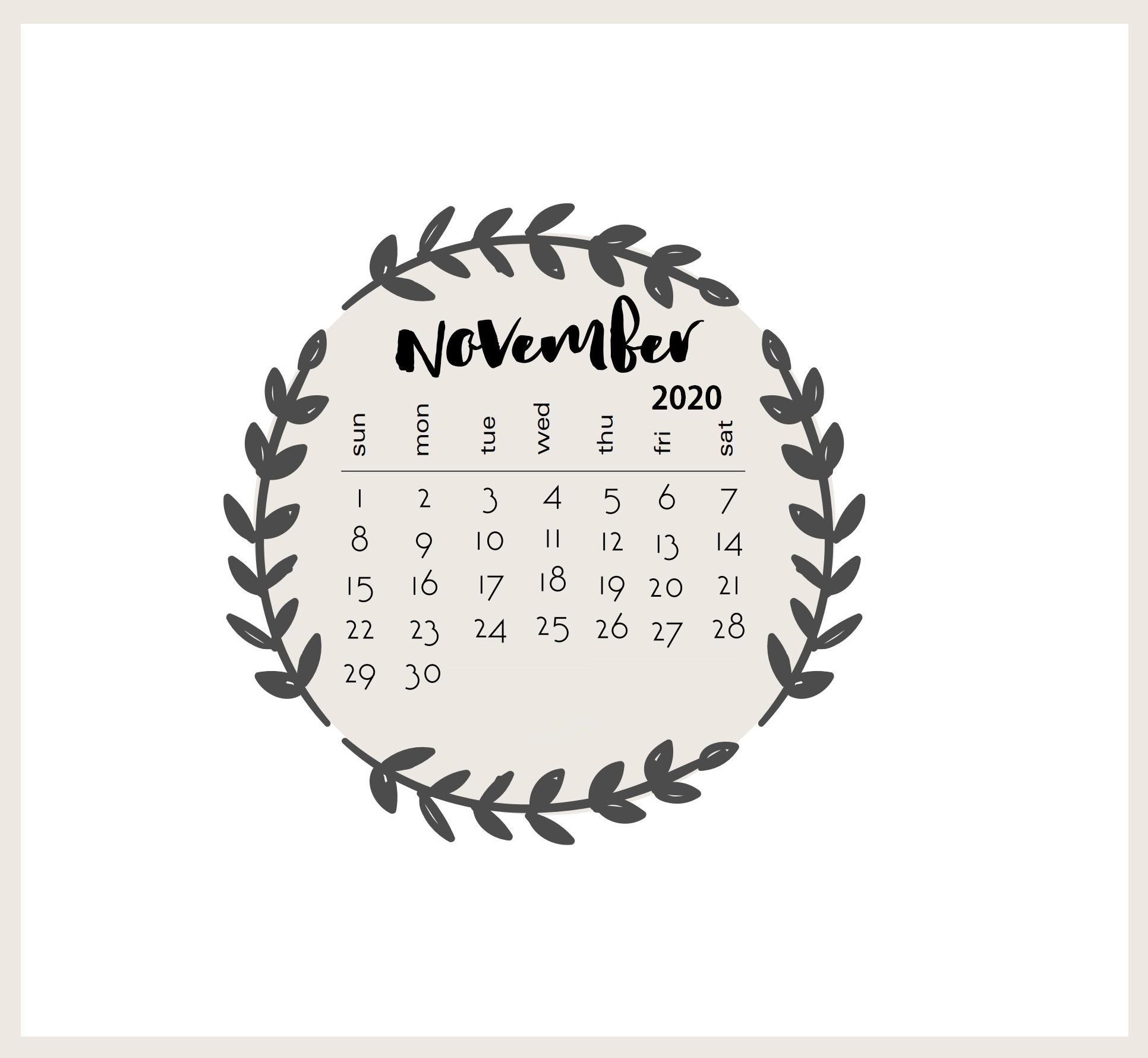Floral November 2020 Monthly Calendar