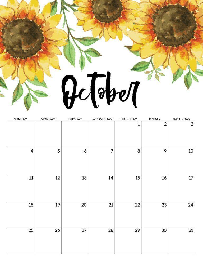Floral October 2020 Wall Calendar