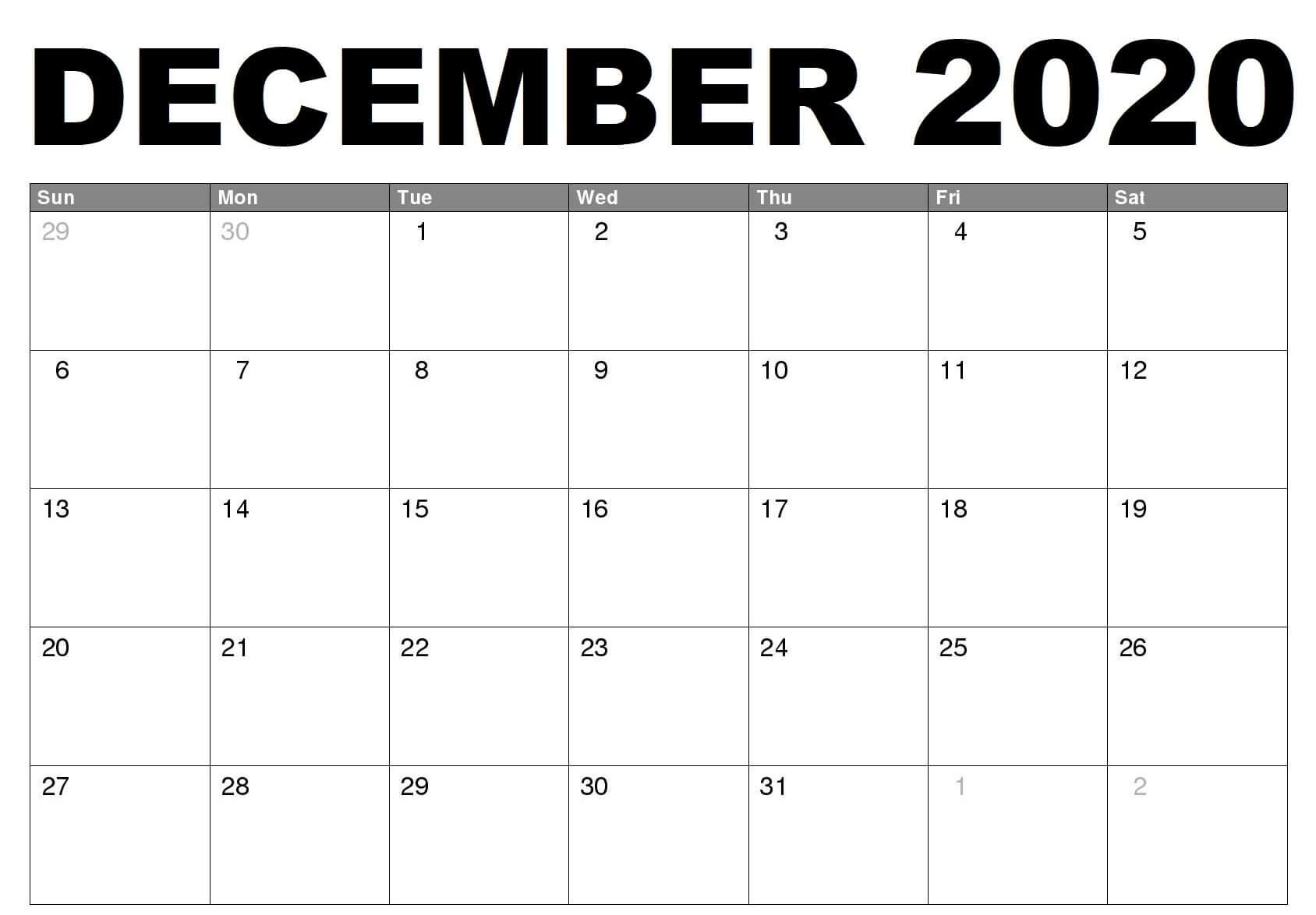 Free December 2020 Calendar Template