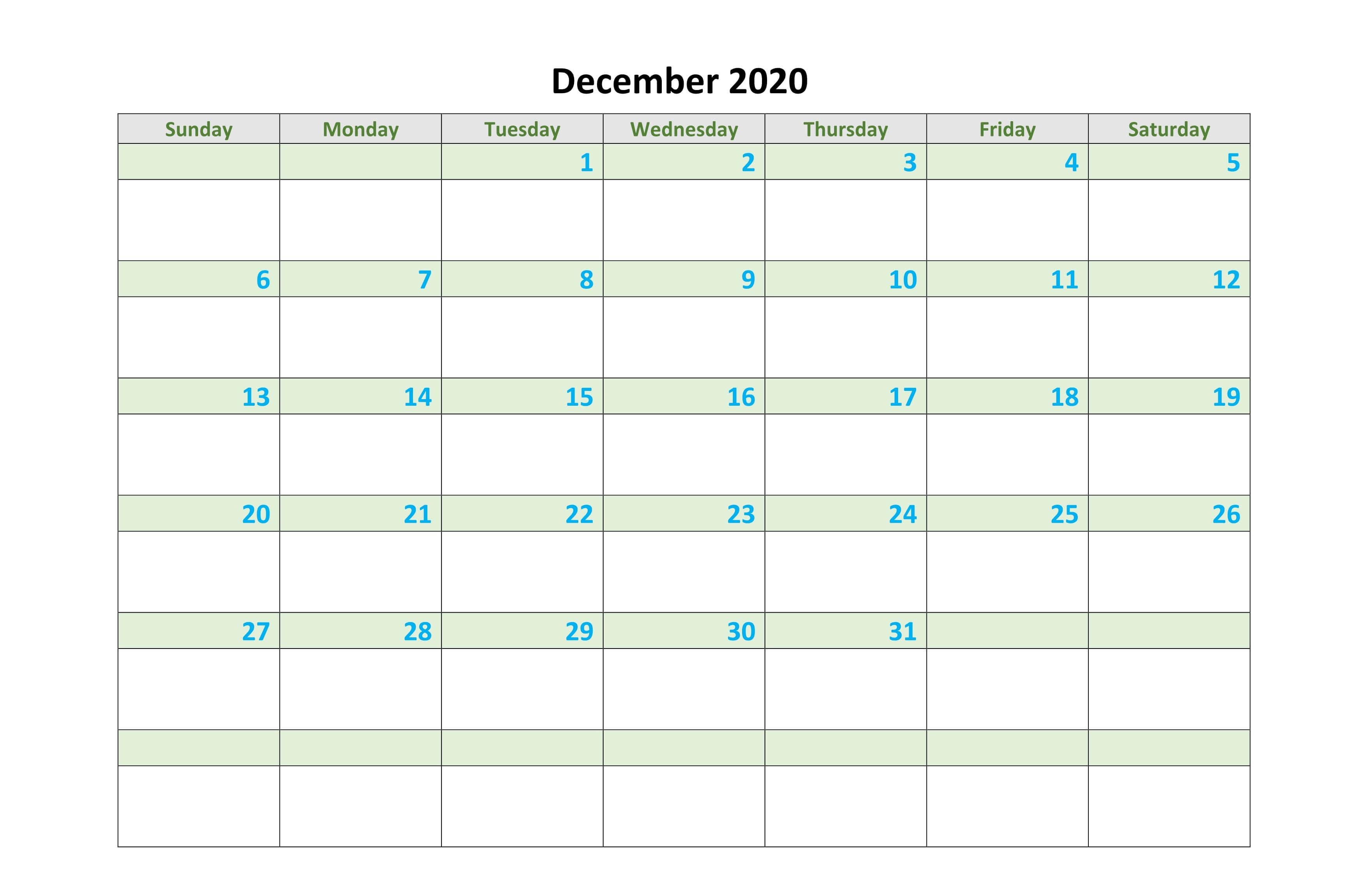 Free December Calendar 2020 Worksheet