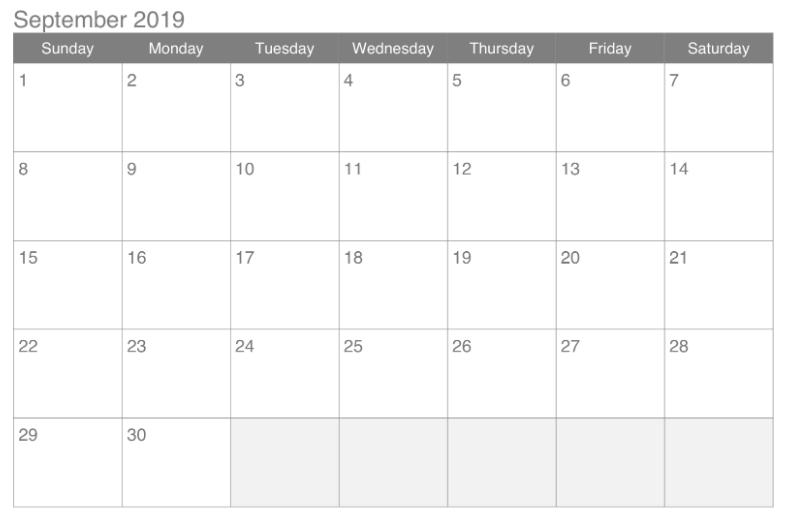 Free Printable September 2019 Calendar Template