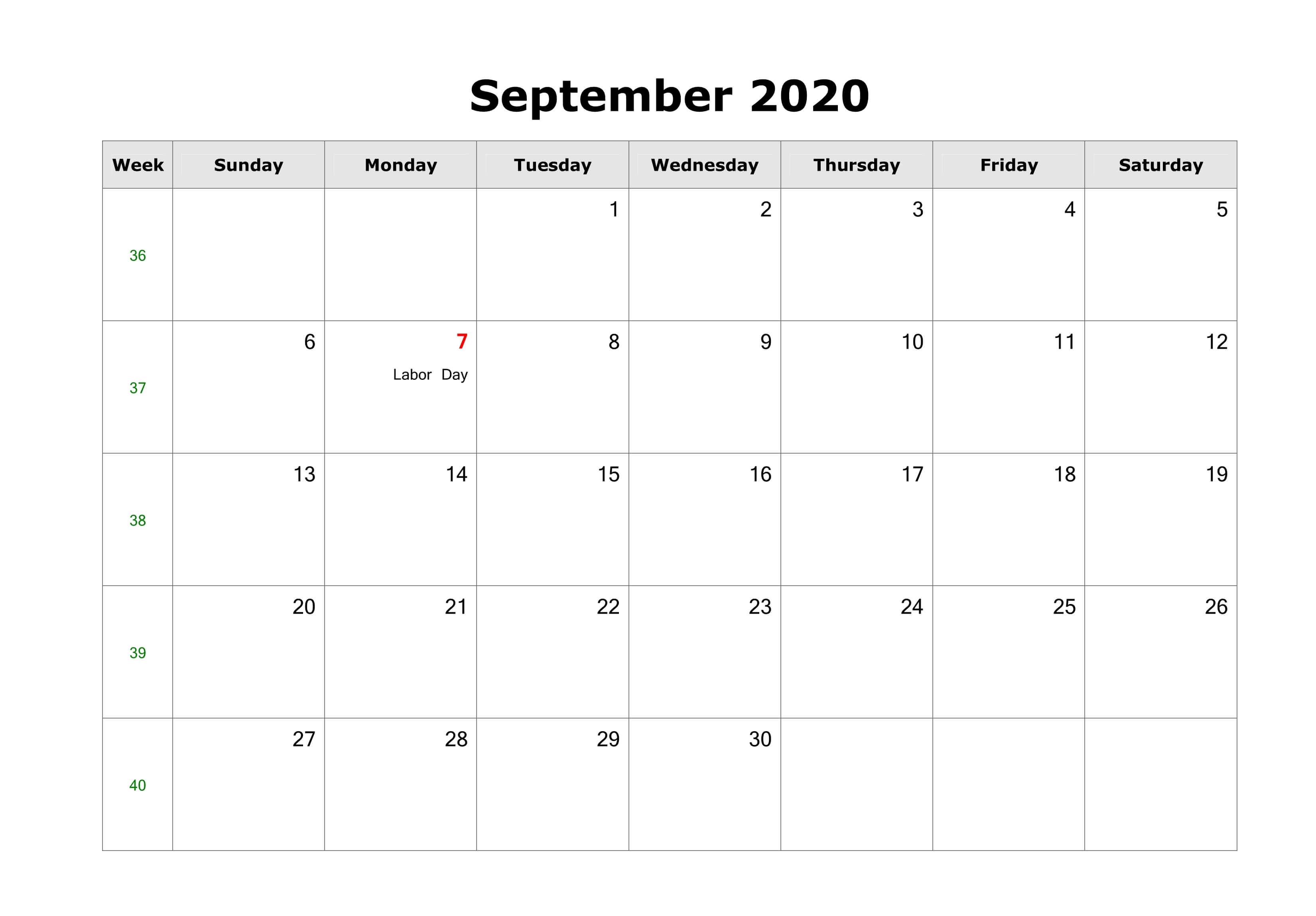 Holidays Calendar September 2020