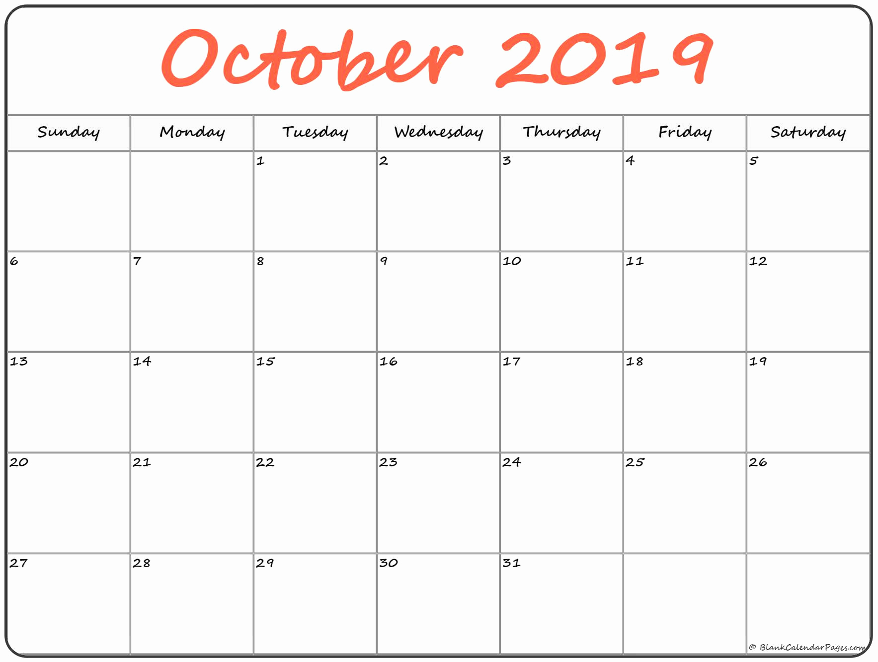 Monthly Blank Calendar For October 2019