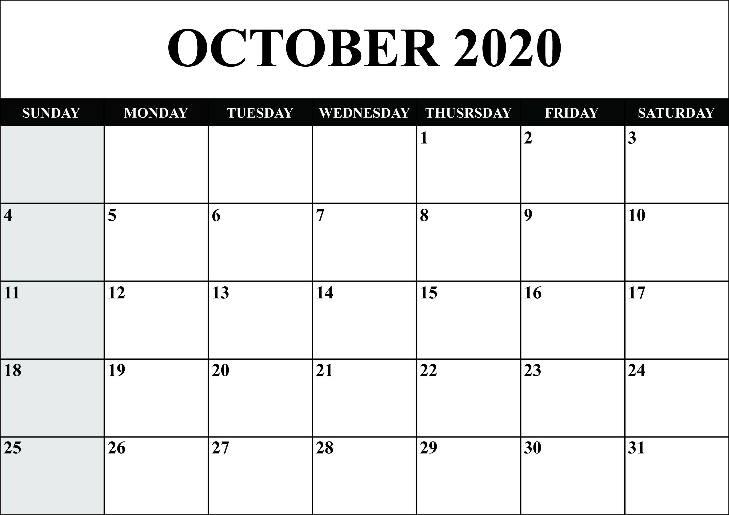 October 2020 Calendar Blank