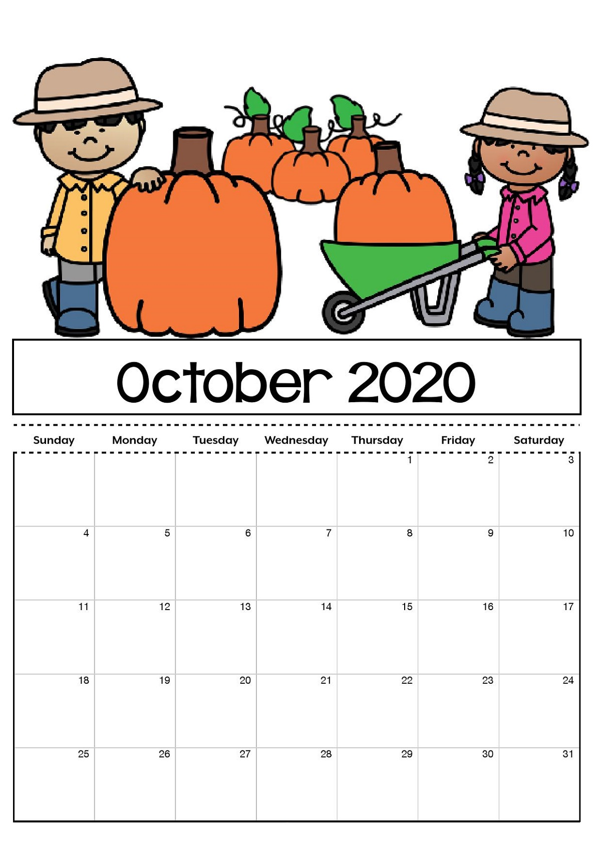 October 2020 Calendar for Kids