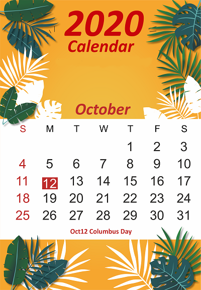 October 2020 iPhone Calendar
