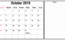 October Calendar 2019 with Notes