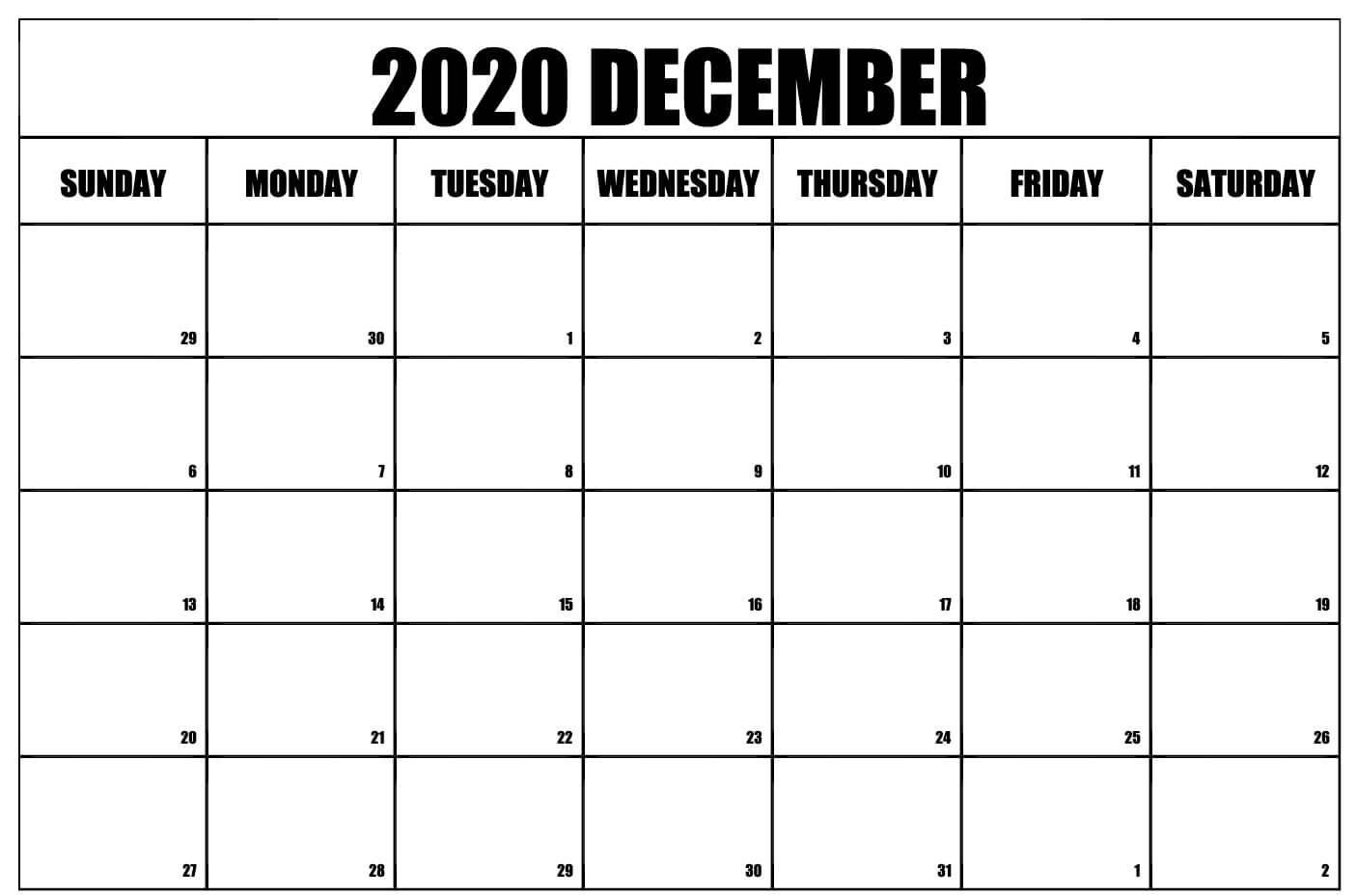 Print December 2020 Blank Calendar Page
