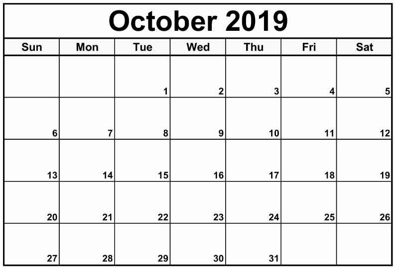Print October 2019 Calendar