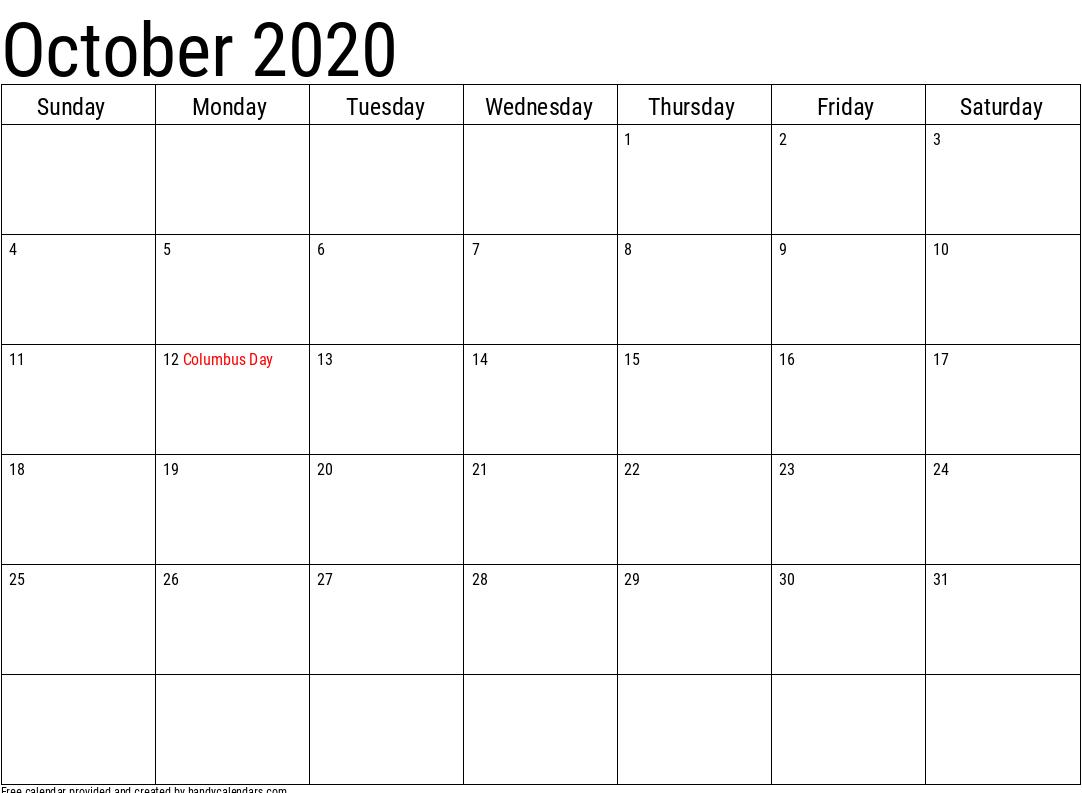 Print October 2020 Calendar