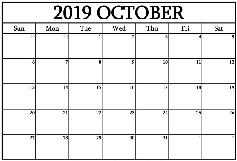 Printable Blank Calendar October 2019
