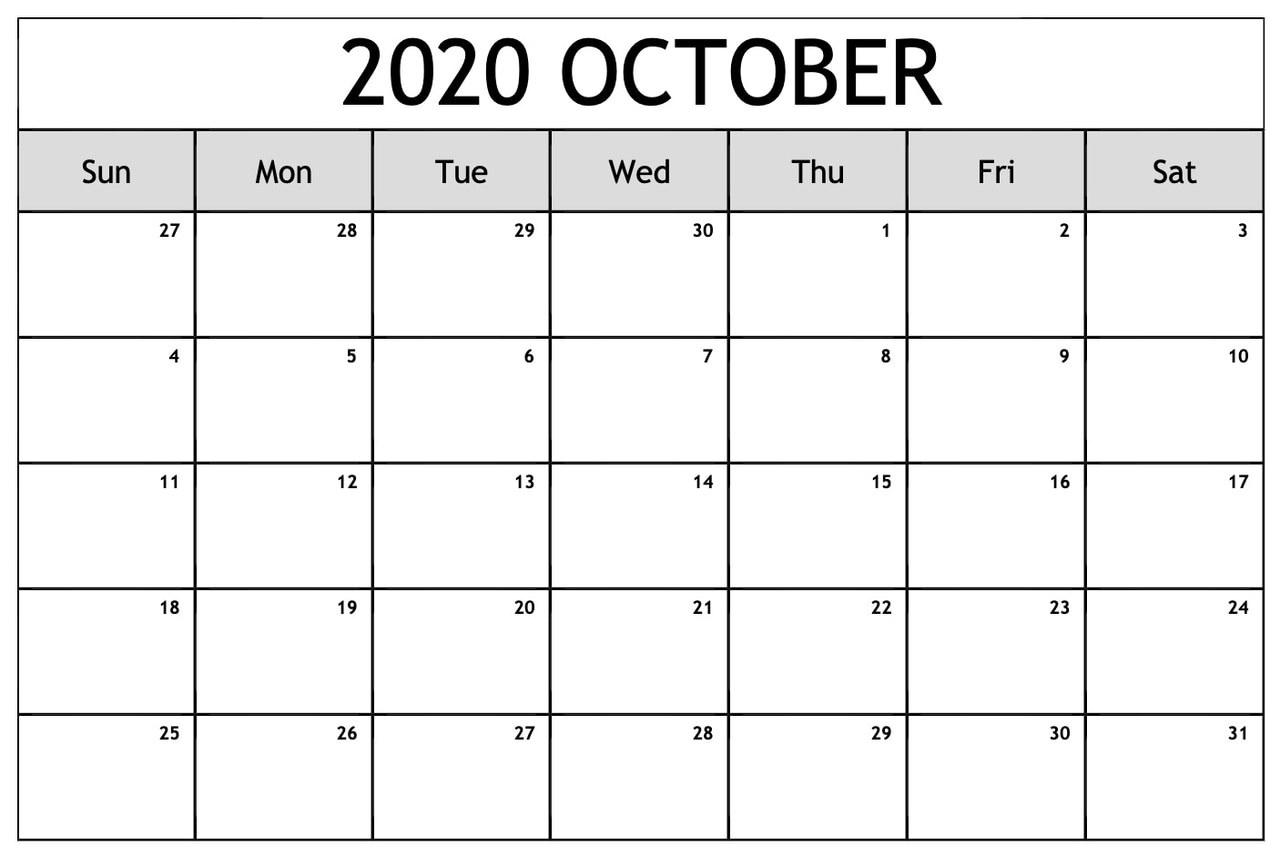 Printable Blank October 2020 Calendar