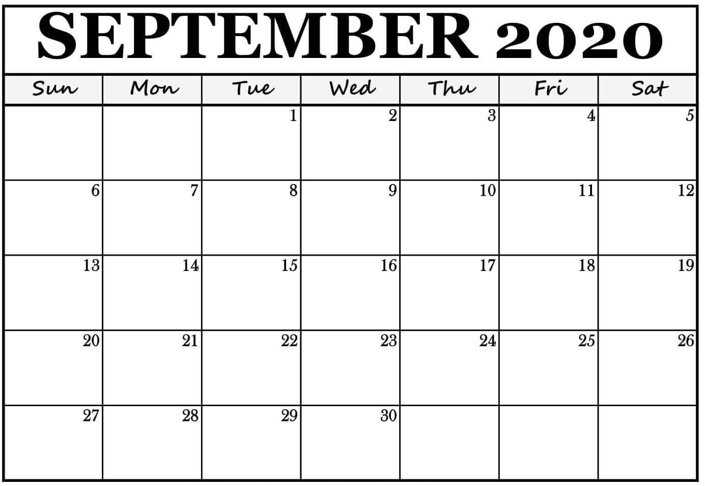 Printable Calendar September 2020 Editable