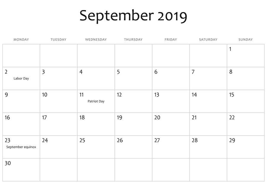 Printable September 2019 Calendar With Holidays